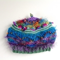 Unique 15 years -adult knitted embellished hat. Mutiple colours. One of a kind