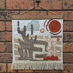 Modernist fabric wallhanging- Desert Landscape
