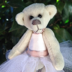 Lucy - a miniature collectible bride bear in a tutu dress