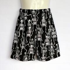 Black skeleton shorts - kids size 5 avail - halloween, boy, skull