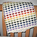 "Blanket ""Rainbow Hearts"", big enough for a baby cot or toddler bed, Luxury soft"