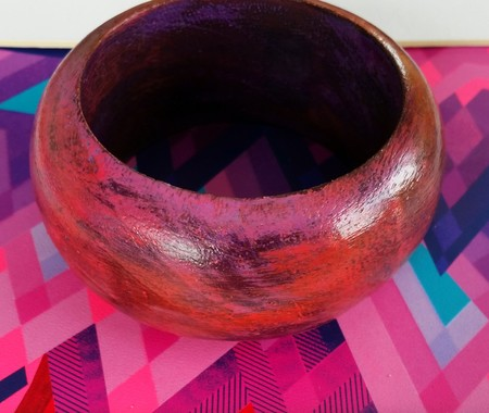 Hand-painted chunky wooden bangle