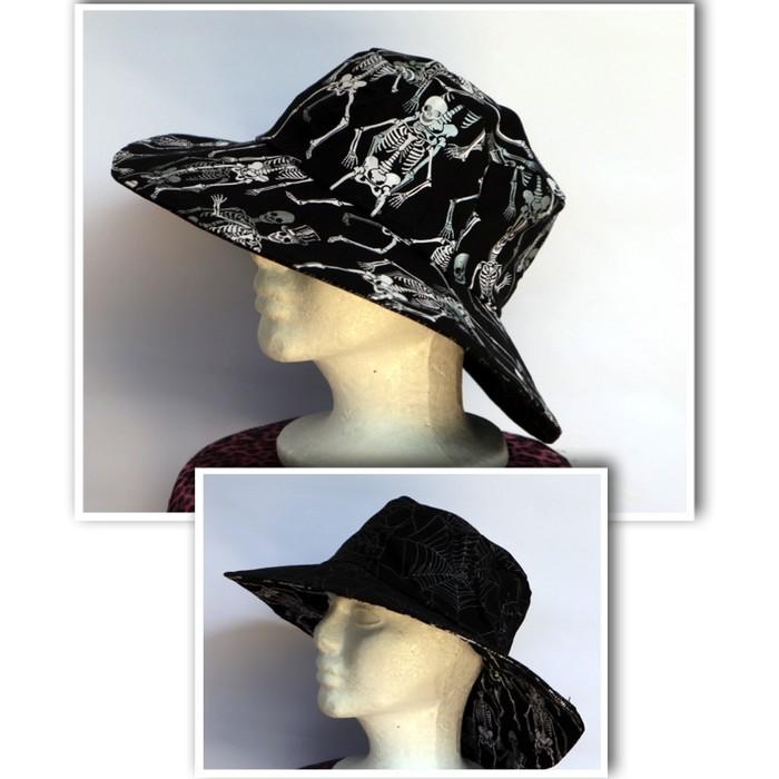 2b8cc282173 Mens Black Skeleton Reversible Bucket Hat - spider web