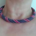 Ribbon and Polka Dot Pattern Rope Necklace