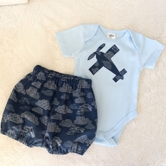 Baby boys outfit, cute bloomers and bodysuit set , baby shower gift size 00