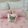 Minature Bambi throw pillow , dollhouse cushion 1/12 scale scatter pillow.