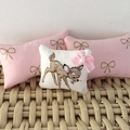 Minature Bambi throw pillow , dollhouse cushion 1/12 scale scatter pillow.