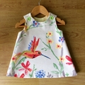 Cute baby girls Pinafore, baby girls dress, handmade , hummingbird fabric size 1