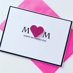 Pink glitter heart MUM Happy Mother's Day her card