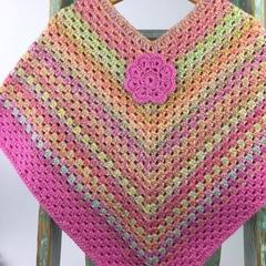 Girls Wool Rainbow Crochet Poncho | 5 - 6 Years | Hand Crocheted | Ready to Post