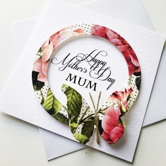 Happy Mother's Day MUM floral vintage design with butterfly gold glitter card