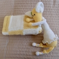 Crochet Baby blanket in Lemon & Cream: Cot, Pram, Travel, capsule, Car, Unisex
