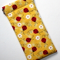 Padded Sunglasses Pouch in Pretty Ladybug Fabric