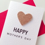 Happy Mother's Day Mum rosegold glitter love heart card
