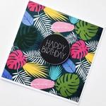 Happy Birthday bright fern leaf leaves rainforest green pink teal aqua card