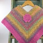 Girls Wool Rainbow Crochet Poncho   3 - 4 Years   Hand Crocheted   Ready to Post