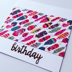 Happy Birthday feather her pink yellow teal aqua rosegold red card