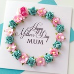Lush paper roses Happy Mother's Day Mum pink teal aqua her pretty card