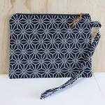 Navy & white geometric Clutch, wristlet, purse with strap