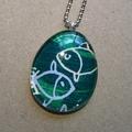 Pisces - painted pendant