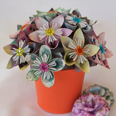 Kusudama flower arrangement in orange pot