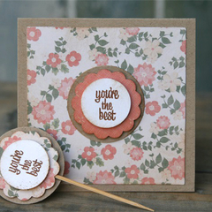You're the Best Card + Cupcake Topper Orange Floral Card Valentine's Day Card