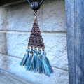 Geometric Copper Tone and Tassel Choker Necklace