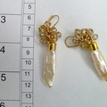 Keshi pearl earrings, lovely pastel tones, champagne faceted crystals