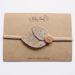 Blue Button Burlap Headband