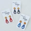 Circle Wood and Acrylic Drop Earrings