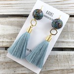 Handcrafted polymer clay tassel dangle earrings in teal blue floral