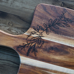 Wood Burnt Floral Acacia Cutting Board