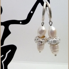 Baroque earrings with rhinestone rondells and silver hinged ear wires.
