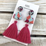 Handcrafted polymer clay statement stud tassel earrings- hot pink graffiti