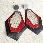 Red, black and ivory layered Leather gem shape earrings