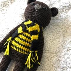 Hufflepuff Vintage Style Teddy Bear - Harry Potter, Yellow, Scarf, Nursery, Geek