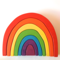 Large hand painted wooden PASTEL rainbow. (7 Piece)