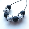 Going Dotty black and white polymer chunky statement necklace