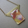 Jamie - painted pendant with brass