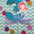 Mermaid Number Cake Topper with Bow