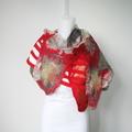 Felted Scarf Wool Silk Nuno felting Wrap Felt Shawl Red Art