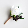 White Rose with Blackberries - Buttonhole for Groom or Groomsman - Traditional