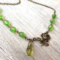 Bronze Rose Necklace with Green Beads