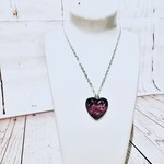 Necklace, silver, glass heart dome bead with pink and black swirls.