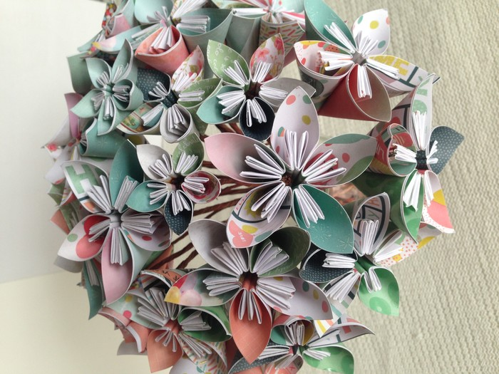 Soft green and peach kusudama paper flower bouquet. | Maggie\'s Paper ...