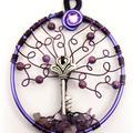 Tree of Life Key with Amethyst and Purpurite
