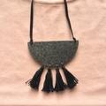 Felt tasseled pendant - grey and black