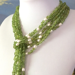 Affordable Peridot Gemstones and Pearls Multistrand Quality Long Necklace.