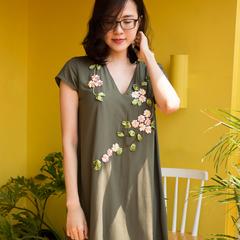 Apricot Ribbon embroidery A-line dress