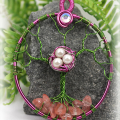 Tree of Life Birds Nest with Cherry Rose Quartz